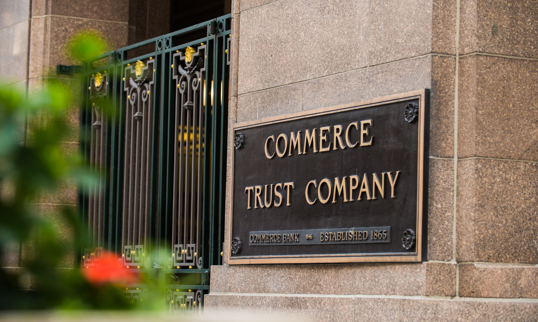 Commerce Trust Company building plaque